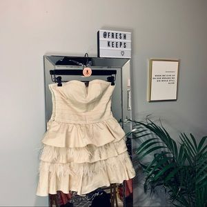 BEBE Cream Cocktail Dress w/ ruffles and feathers